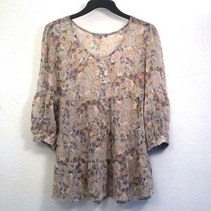 NY Collection Floral Sheer Babydoll Blouse